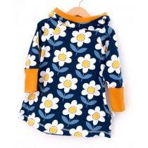 Hoodiekleid Blumen dunkelblau/weiss