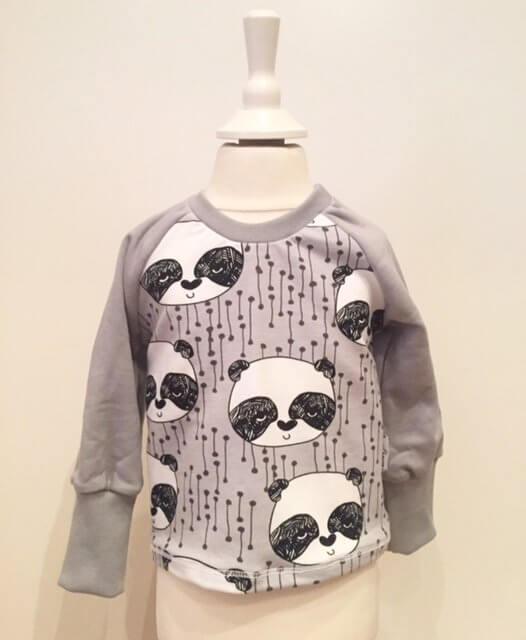 Langarmshirt mit Panda grau