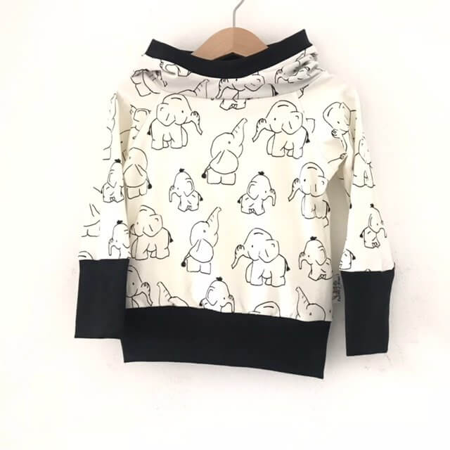 Hoodie Elefanten schwarz/weiss