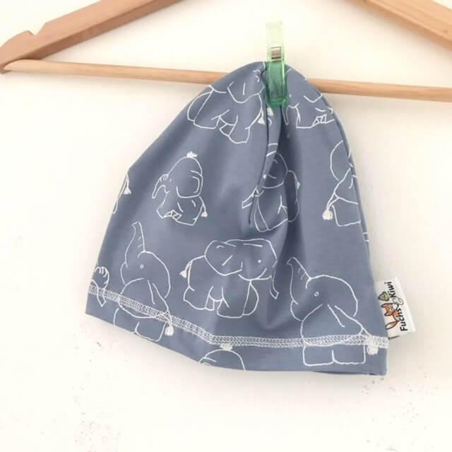 Beanie Elefanten rauchblau/weiss