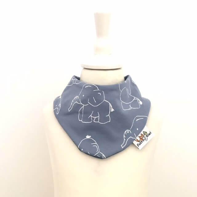 Halstuch Elefanten rauchblau/weiss