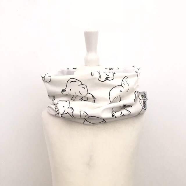 Loop Elefanten schwarz/weiss