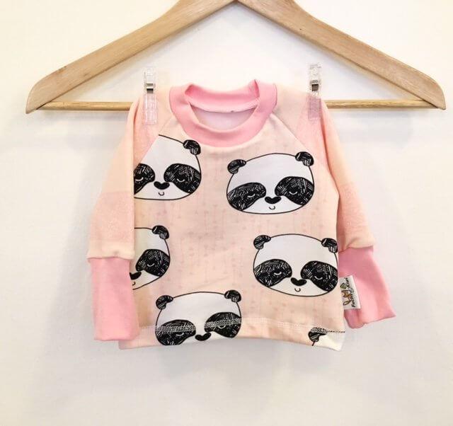 Langarmshirt mit Panda rosa