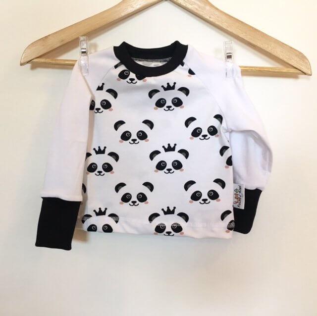Langarmshirt mit Panda schwarz/weiss