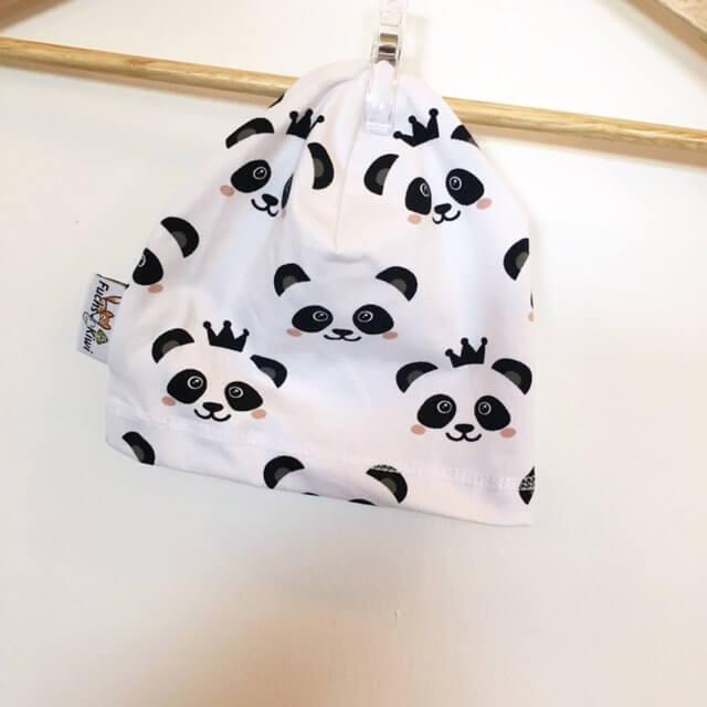 Beanie mit Panda schwarz/weiss