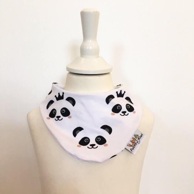 Halstuch mit Panda schwarz/weiss