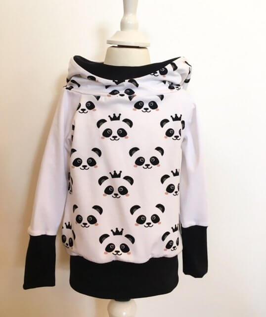 Hoodie mit Panda schwarz/weiss