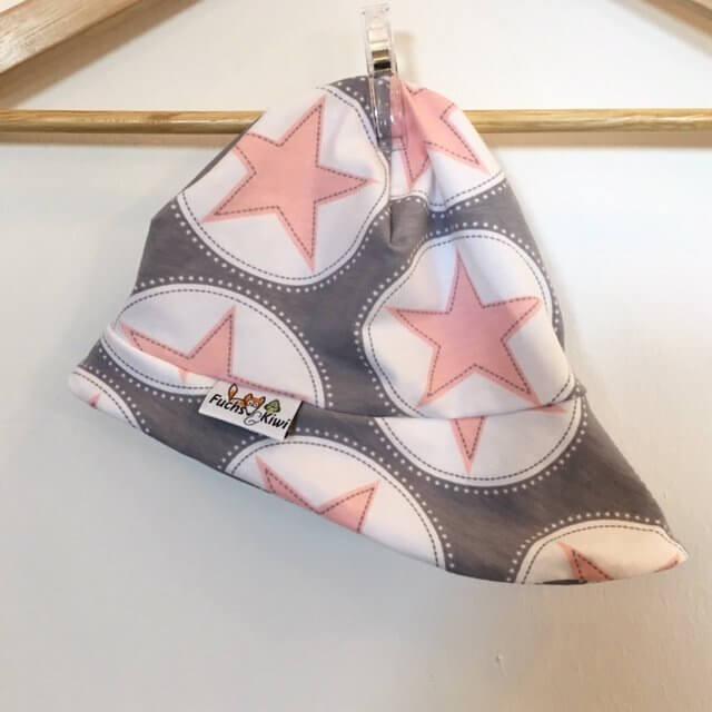 Sommermütze mit Sternen rosa/grau