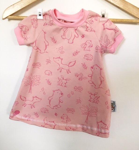 Kurzarmkleid Waldtiere rosa