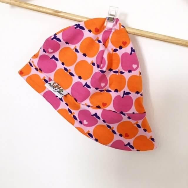 Sommermütze mit Äpfeln rosa/orange