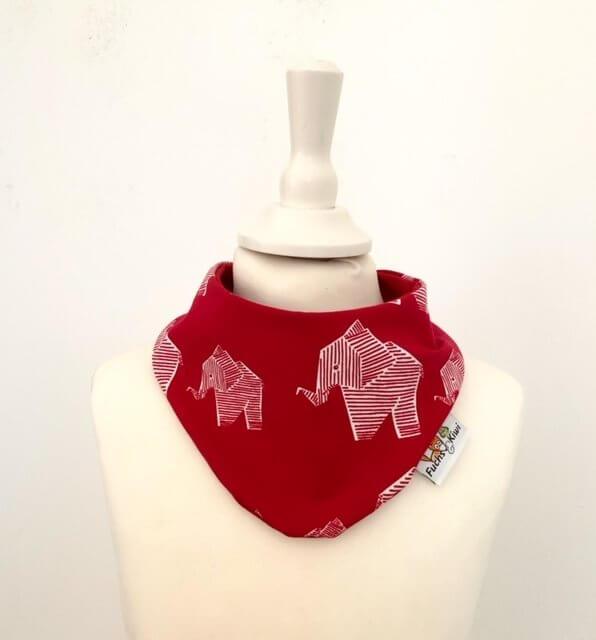 Halstuch Elefanten rot