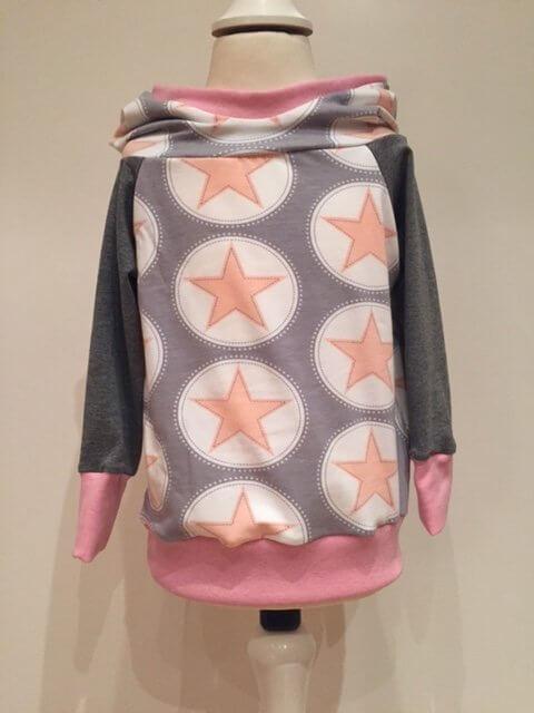 Hoodie mit Sternen rosa/grau