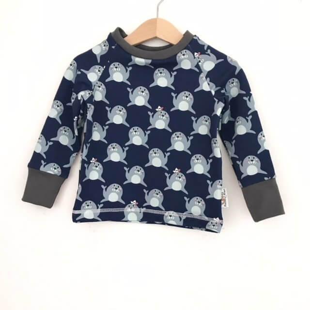 Langarmshirt Robben blau