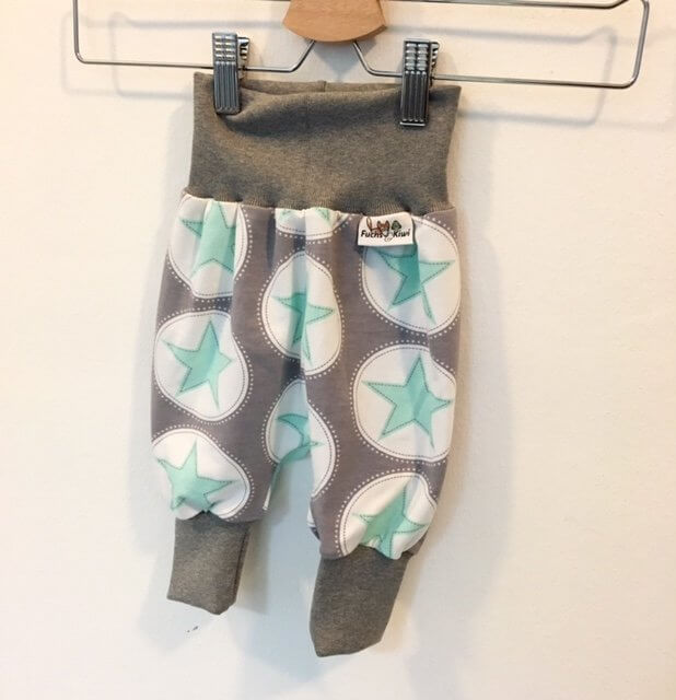 Pumphose Sterne mint/grau