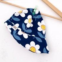 Sommermütze Blumen dunkelblau/weiss