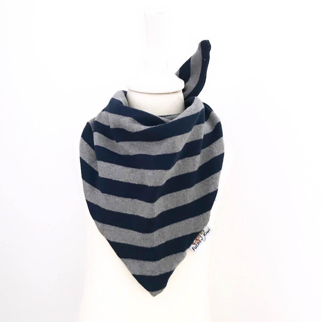 Halstuch zum Binden Strick Streifen blau/grau