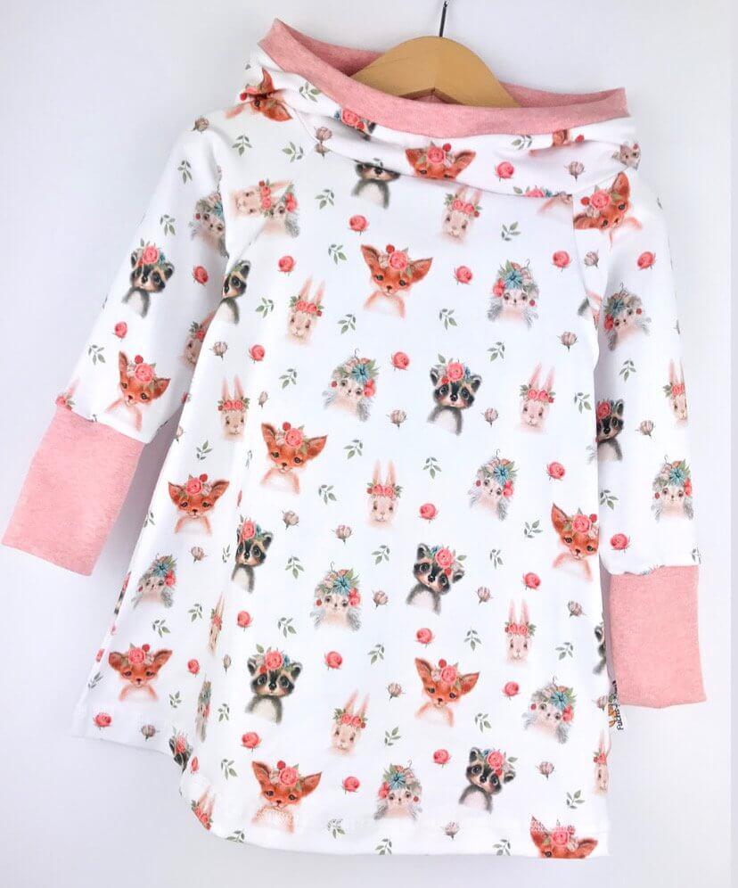 Hoodiekleid Blumentiere