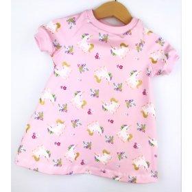 Kurzarmkleid Einhörner rosa