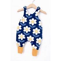 Strampler Blumen dunkelblau/weiss