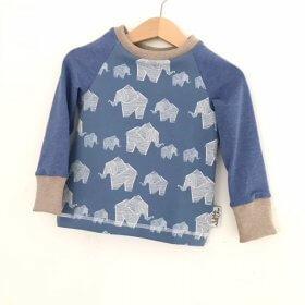 Langarmshirt Elefanten rauchblau