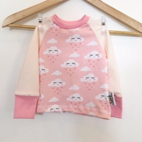 Langarmshirt mit Wolken & Herzen rosa