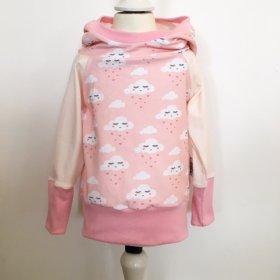 Hoodie mit Wolken & Herzen rosa