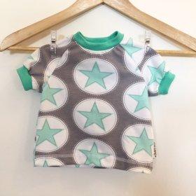 T-Shirt mit Sternen mint/grau