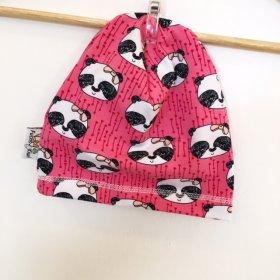 Beanie mit Panda pink