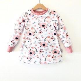 Langarmkleid mit Vögelchen rosa