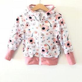 Sweatjacke mit Vögelchen rosa