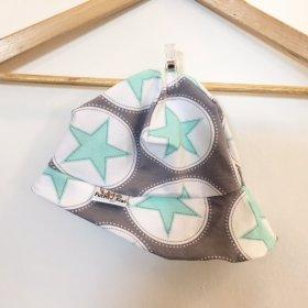 Sommermütze mit Sternen mint/grau