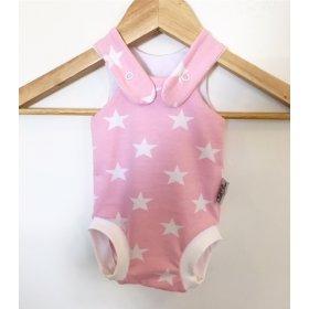 Sommerstrampler mit Sternen rosa/weiss