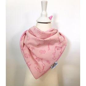 Halstuch zum Binden Waldtiere rosa