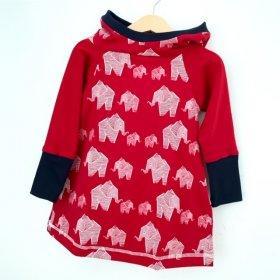 Hoodiekleid Elefanten rot