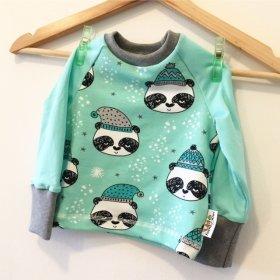 Langarmshirt mit Winterpanda mint