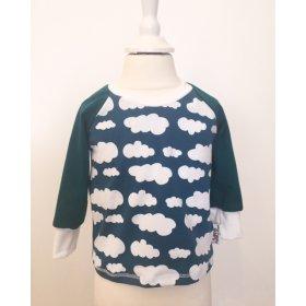 Langarmshirt mit Wolken petrol