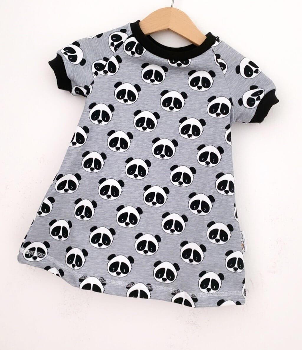 Kurzarmkleid Panda grau meliert