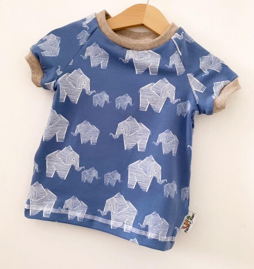 T-Shirt Elefanten rauchblau