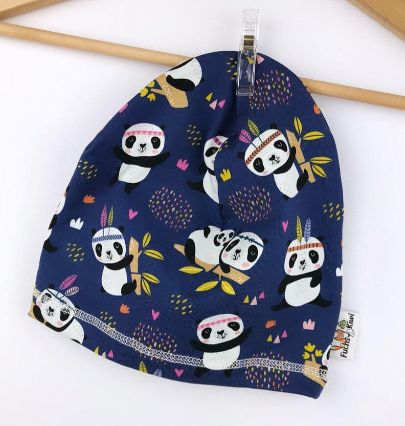 Beanie Panda dunkelblau 48-50