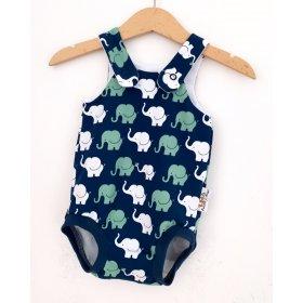 Sommerstrampler Elefanten mint/blau