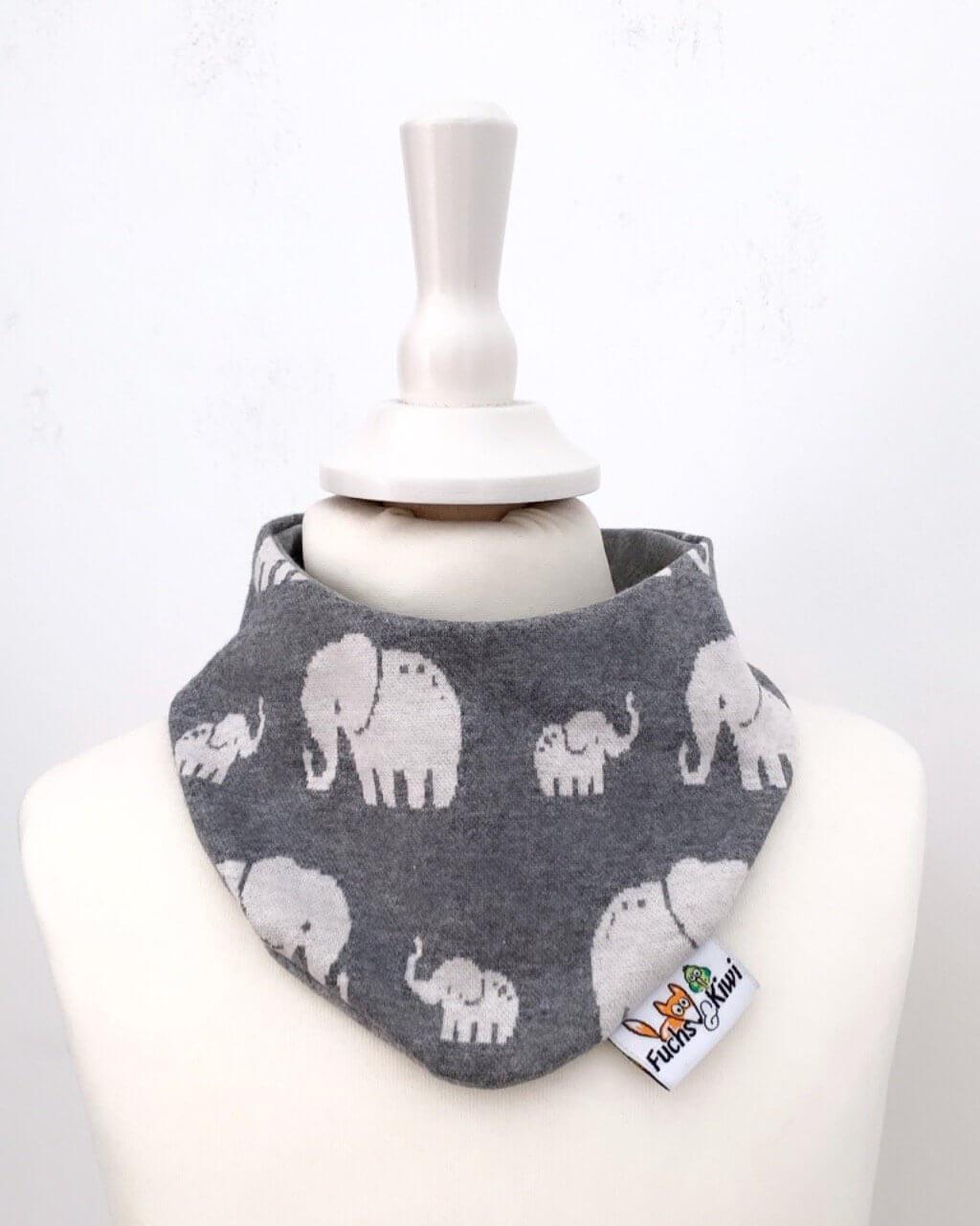 Halstuch Strick Elefanten grau
