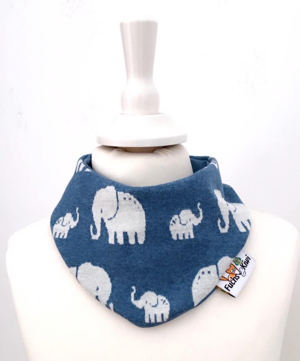 Halstuch Strick Elefanten rauchblau