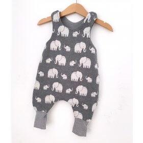 Strampler Strick Elefanten grau