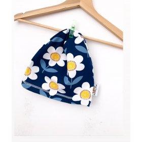 Beanie Blumen dunkelblau/weiss