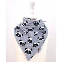 Halstuch zum Binden Panda grau meliert