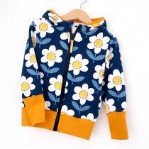 Sweatjacke für Mama Blumen dunkelblau/weiss