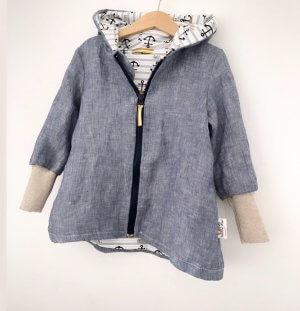 INDIVIDUELL Mantel aus Leinen rauchblau