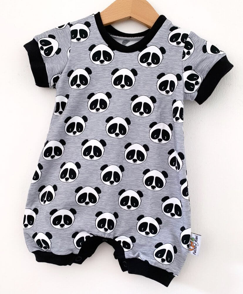 Einteiler kurz Panda grau meliert