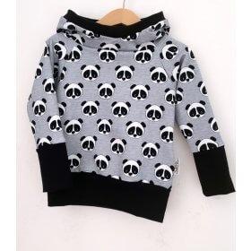 Hoodie Panda grau meliert
