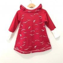 Hoodiekleid Vögel rot 98/104